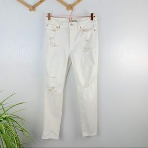 Free People NWOT Distressed White Ankle Jeans